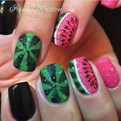 The Best Nail Art Designs – Your Beautiful Nails Fruit Nail Designs, Simple Nail Art Designs, Best Nail Art Designs, Watermelon Nail Designs, Cute Nail Art, Cute Nails, Watermelon Nails, Watermelon Water, Fruit Nail Art