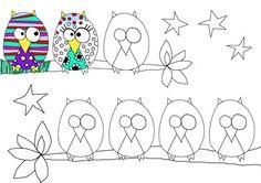 Quand on remplace en art plastiques, les élèves doivent dessiner des hiboux avec différentes textures: zébré, point, etc.