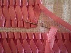 braided ribbon on aida cloth