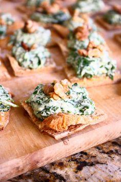 Spinach-Ricotta Spread on Crispy Parmesan Squares