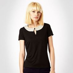 Black stud collar top -