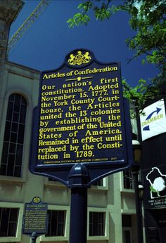 Articles of Confederation Historical Marker, York, PA