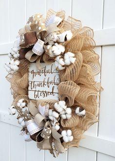 Jute Mesh Wreath Cotton Wreath Thankfully Blessed Thank You Easy Burlap Wreath, Cotton Wreath, Wreath Crafts, Diy Wreath, Fall Mesh Wreaths, Door Wreaths, Jute, Frame Wreath, Blessed