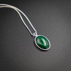 Malachite pendant necklace malachite and sterling silver