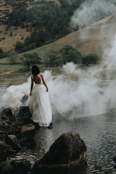 Two-piece bridal gown with full skirt. Smoke bomb bridal photos. Dress by Emma Beaumont! Bridal separates flowing beautifully in the woods. Sutton Coldfield | Birmingham | West Midlands Wedding Photography | Sue Ann Simon