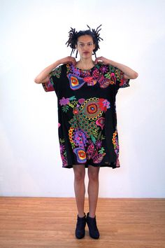 Marisol, 90s India Tent Dress XXL 2XL, Black & Rainbow Print Caftan Dress, Hippie Dress, Ethnic Tunic, Oversize T-Shirt Dress, Extra Large