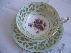 Vintage English Paragon teacup and saucer by YorkshireTeaCupShop