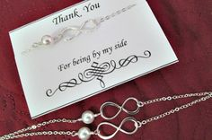 Bridesmaid gift set- FIVE sterling silver pearl and infinity bracelets, ivory pearl, infinity link, simple, elegant, bridal favor, wedding on Etsy, $110.92 CAD