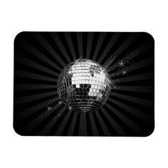 Mirror Disco Ball on Black Rectangular Magnets