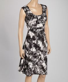 Loving this Black & White Abstract Sleeveless Dress on #zulily! #zulilyfinds