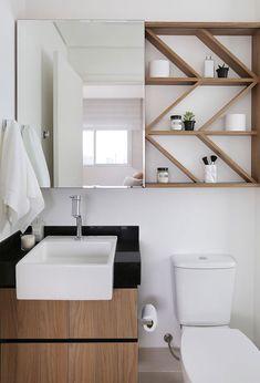 Bancada de Granito Preto São Gabriel nesse banheiro