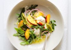 Pickled Nectarine Salad with Burrata | bon appetit. Ripe peaches can be used in place of the nectarines.