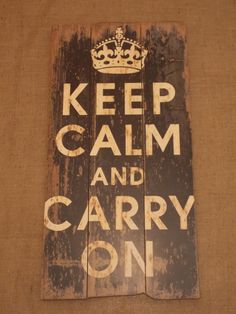Large Rustic Style Keep Calm and Carry On Wooden Wall Art, Shabby Chic Style, Rustic Style, Wooden Wall Art, French Provincial, Wall Signs, Keep Calm, Carry On, Crafts, Farmhouse