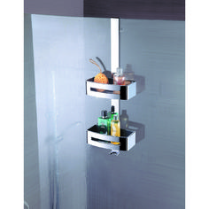 Double tier mirror finish Stainless steel hanging caddy with removeable white inserts for easy cleaning. Multifit glass sleeve for hanging onto 8 or glass Same for black inserts