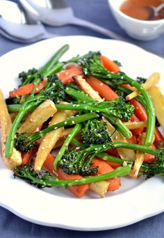 Sticky Roasted Vegetables with Sesame-Miso Dressing