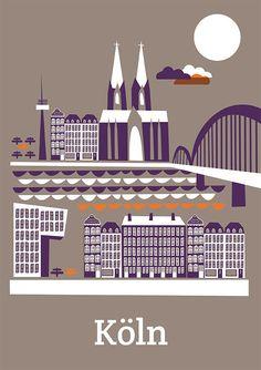 Das Köln Poster von DORO Illustrations. Größe: 50 x 70 cm Das Poster wird gerollt in einer Kartonverpackung versendet.