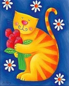 Ginger Cat with bunch of Roses on a Blue with Daisies background by Jo Perry♥🌸♥ I Love Cats, Cool Cats, Gatos Cats, Cat Quilt, Cat Colors, Cat Drawing, Whimsical Art, Fabric Painting, Cat Art