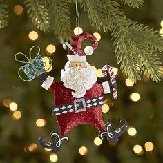 Glitter Santa Candy Cane Ornament