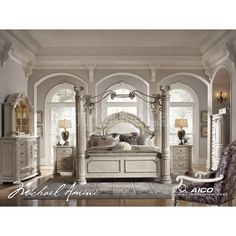 Queen White Poster Canopy Bed w Leather Marble Tops 4 piece