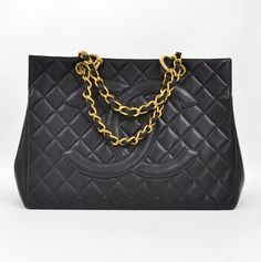 #Chanel Vintage Black Quilted Caviar #Tote Bag