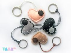 Set of 4 Felt Heart Keyrings Charms Felt Keychains by TaraHandmade, $20.00
