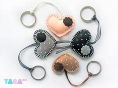 Set of 4 Felt Heart Keyrings Charms Felt Keychains by TaraHandmade, $20.00