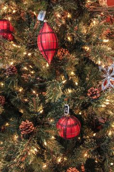 Christmas Tree CloseUp With Plaid Ornaments by RedHedgePhotos, $9.99