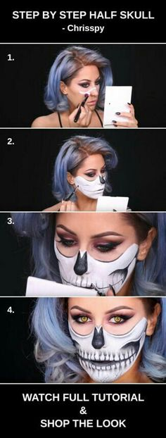 # HALLOWEEN MAKE UP this step by step half skull halloween makeup tutorial by Chrisspy amp; shop the products!: this step by step half skull halloween makeup tutorial by Chrisspy amp; shop the products! Halloween Inspo, Halloween Makeup Looks, Halloween 2018, Easy Halloween, Half Face Halloween Makeup, Halloween Makeup Tutorials, Halloween Cosplay, Halloween Costumes, Sugar Skull Make Up
