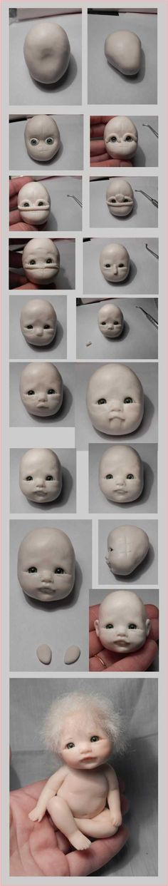 Polymer Clay Baby Face tutorial, could be used for cake decorating with fondant Polymer Clay Figures, Polymer Clay Dolls, Polymer Clay Projects, Polymer Clay Creations, Sculpting Tutorials, Clay Tutorials, Clay Baby, Paperclay, Sculpture Clay