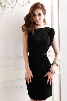 Stunning Cotton Empire Waist One Shoulder Dress - Black