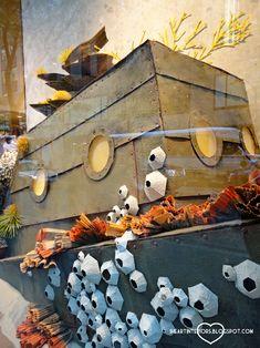 i heart interiors: Anthropologie Window Display - Under the Sea Extended Rockefeller Center Edition under the sea party! Under The Sea Theme, Under The Sea Party, Anthropologie Display, Submerged Vbs, Vitrine Design, Underwater Theme, Party Fiesta, Vbs Crafts, Ocean Themes