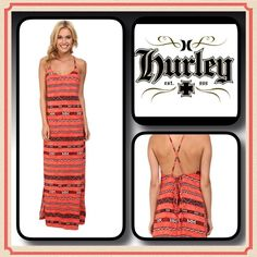 Hurley Sydney Maxi Dress Vibrant Beachy Maxi Dress by Hurley, cross costs tie back, high side slits, 100% Rayon, made in USA....size is a large, more suited to a med Hurley Dresses Maxi