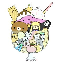 I see waffles, Sailor Moon, Pusheen the Cat, Torotoro, a poptart, a wierd guy in black with a mask, Pikachu and Finn and Jake. :-)