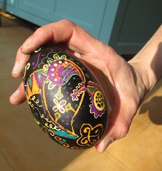 """Interested in making pysanky?  It's fun!  Here are some good instructions.  FYI for blowing out the finished egg, I prefer dremeling a small hole at the bottom, then """"blowing"""" with an 18 gage hypodermic needle and 35-60ml syringe.  Make sure you leave a quarter-sized patch of wax around the hole to protect the dye from the egg content proteins, then melt it all off after blowing.  Have fun!"""