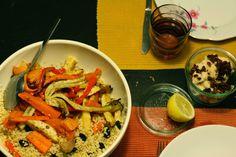 Geroosterde groenten met bulgur. (Jonge sla)