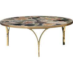 Architectural Italian Coffee Table with Terazzo Top Italian Coffee, Polished Brass, Art Decor, Home Decor, Marble, Bronze, Architecture, Antiques, Furniture