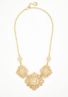 V's Wedding?!  Filigree to the Brim Necklace - Solid, Boho, Statement, Gold, Exclusives, Gold, Vintage Inspired, 20s, French / Victorian