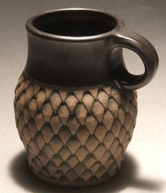 I love the scale pattern on this mug. It was made with a bottle opener.