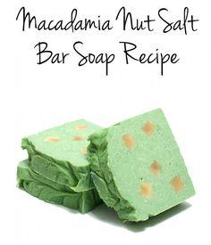 This fabulous homemade macadamia nut salt bar soap recipe is made with a generous percentage of moisturizing macadamia nut oil and dead sea salt.