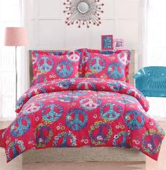 Peace Sign Pink Bedding  Peace is all we need, but this bedding brings   the funky with a hot pink background and a   myriad of fun and flowery peace symbols. The   reverse is a bright hot pink solid color. Tired of   the same old bedroom, then try this comforter to   shake things up! Microfiber face and back make   this pattern a perfect pattern for your dorm with   easy care and cleaning.