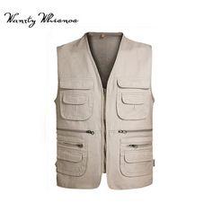 3e3734659065a Casual Sleeveless Pockets Cargo Mens Waistcoat Vest