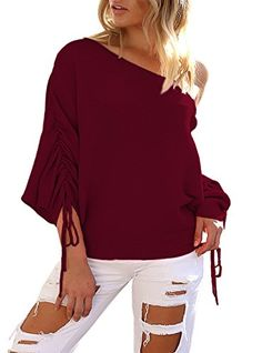 Kbook Women's Off Shoulder Batwing Sleeve Loose Oversized Knit Pullover Sweater Top
