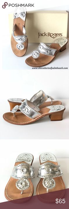 d04d8b603 JACK ROGERS HAMPTONS LEATHER SANDALS SIZE Metallic leathers adds a touch of  instant polish to any