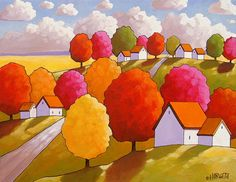 """Fall Tree Colors by Cathy Horvath 5""""x7"""" Modern Giclee Folk Art Print Countryside Roadway Autumn Cottage Tree Landscape Artwork Reproduction"""