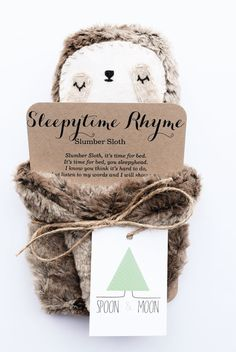 This Slumber Sloth is made of polyester, LIGHT-WEIGHT, minky fabric, wool felt, cotton embroidery thread, and stuffed with hypoallergenic