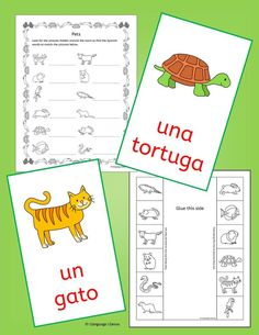 41 pages of fun printable Spanish worksheets and activities to learn Pets vocab - includes Write Around the Room, crossword, word search, anagrams, flip book, mobile and bingo.