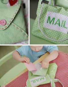 Mail bag and fabric letters. The kids would LOVE playing mail carrier with this :)