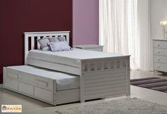 Votre lit gigogne ou lit capitaine de chez Design Vicenza est en pin massif lasuré blanc avec des détails en MDF disponibles dans de nombreux coloris. Le lit de 102 x 200 x 105 cm (l,l,h) est conçu pour recevoir deux matelas de 90 x 190 cm. Le sommier ... (suite)