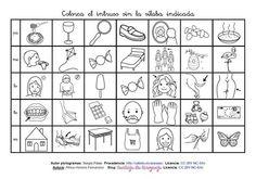 """MATERIALES - """"Conciencia fonológicas: posición media y final"""" Actividad para trabajar la conciencia fonológica de sílabas en posición media y final en diferentes palabras. Utilizando una sílaba como instrucción en cada fila, hay que encontrar el dibujo que no la contenga y colorearlo."""