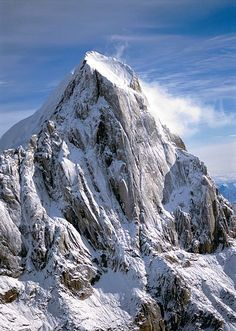 The Broken Tooth (also known as Moose Tooth) peak SE of Mt. McKinley, located in Denali National Park, Alaska. https://ExploreTraveler.com